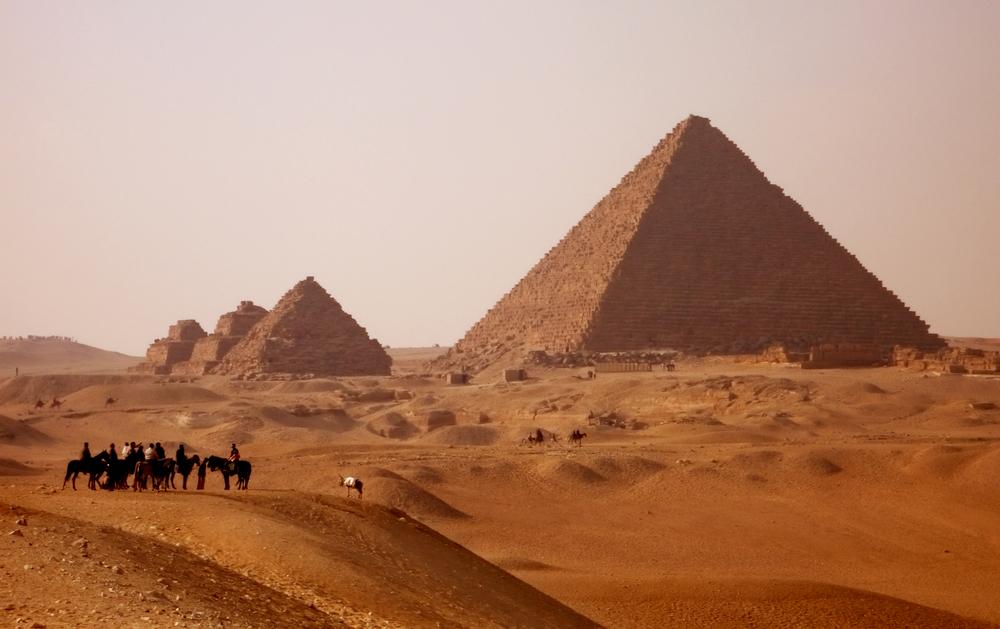 Giza pyramids in Egypt near Cairo at Sunset