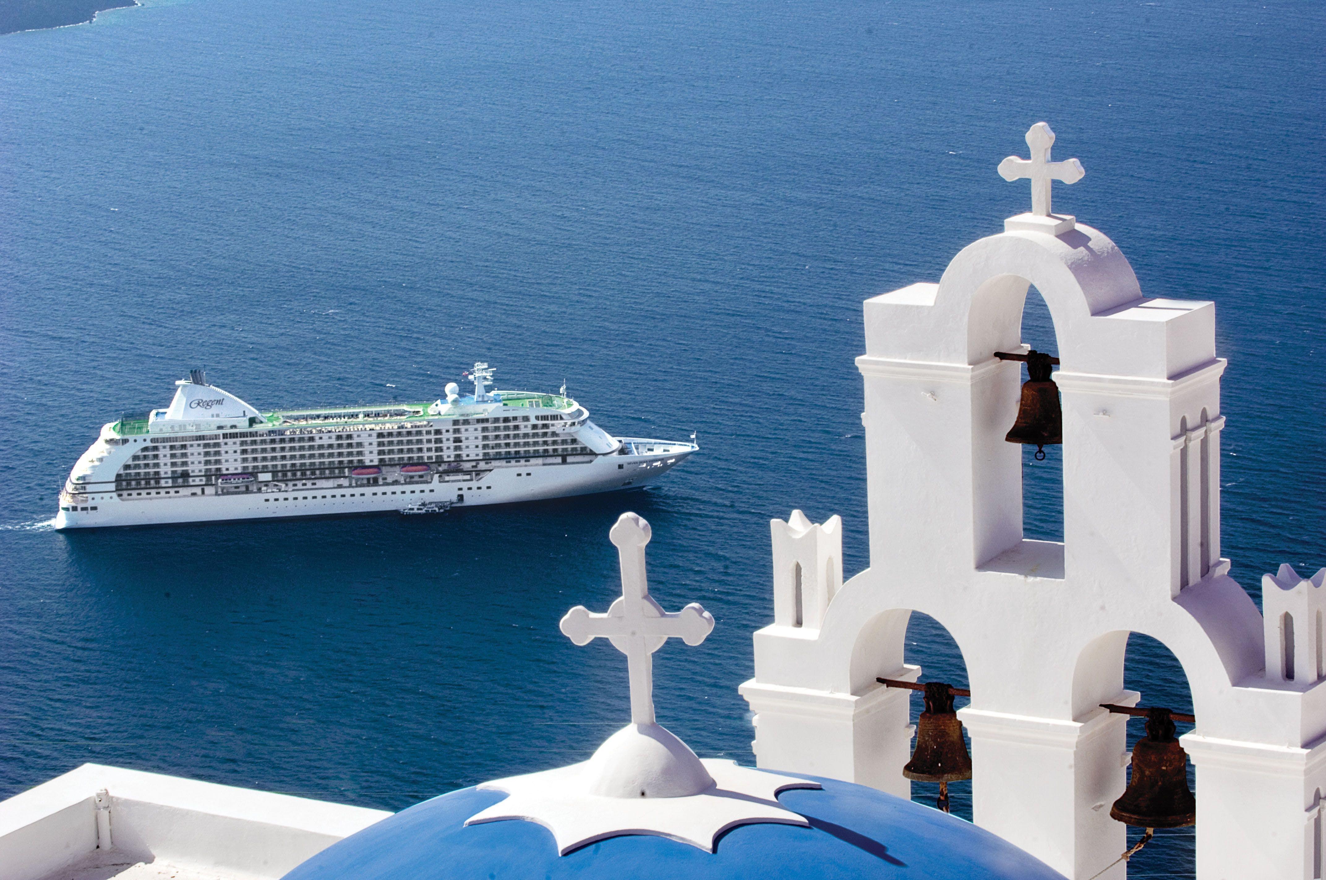 Regent ship in Santorini, Greece