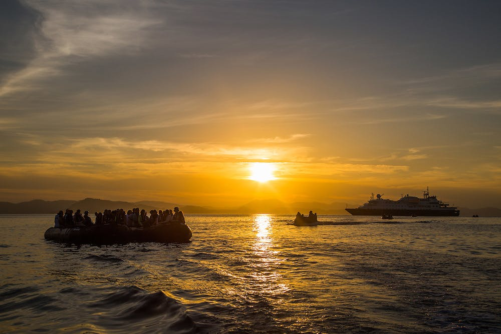 Silversea ship at sunset