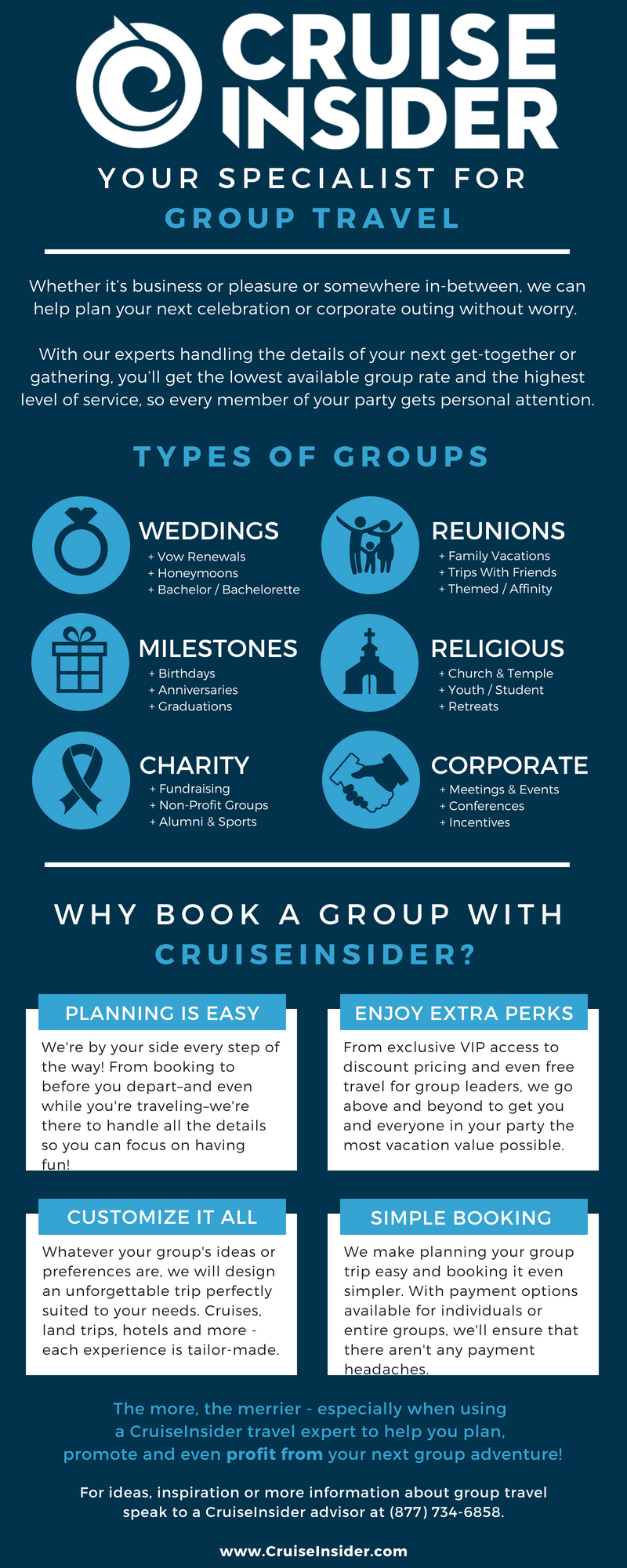CruiseInsider flyer for why we're the best to plan your group travel.