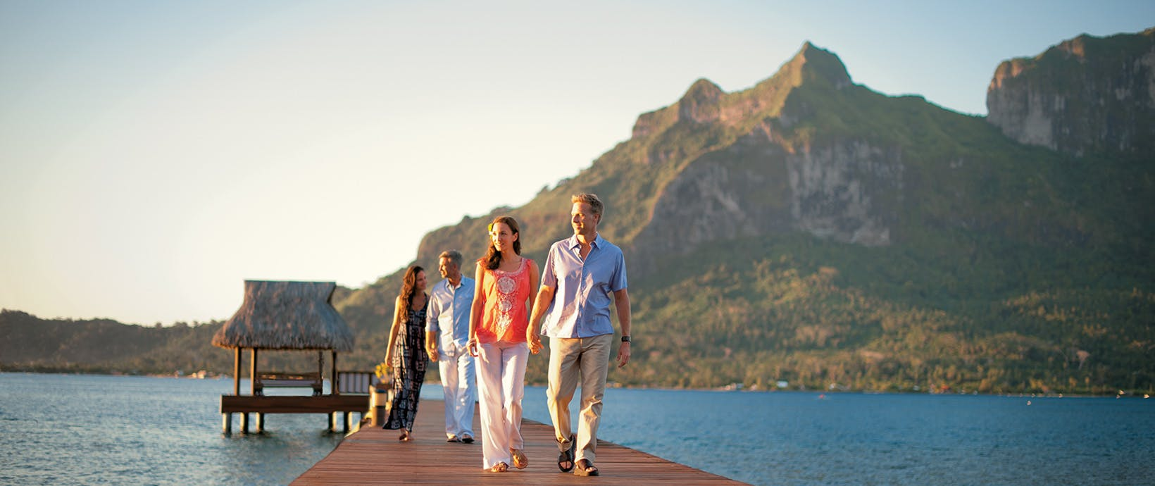 Guests arriving to Bora Bora for their Paul Gauguin cruise.