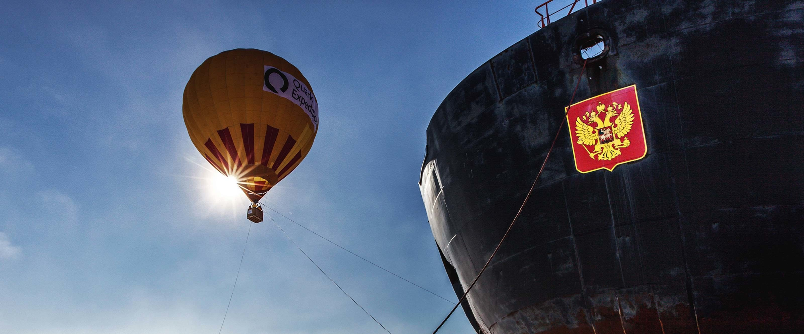 Quark takes you up for a breathtaking bird's eye view of 90° North in a hot-air balloon.