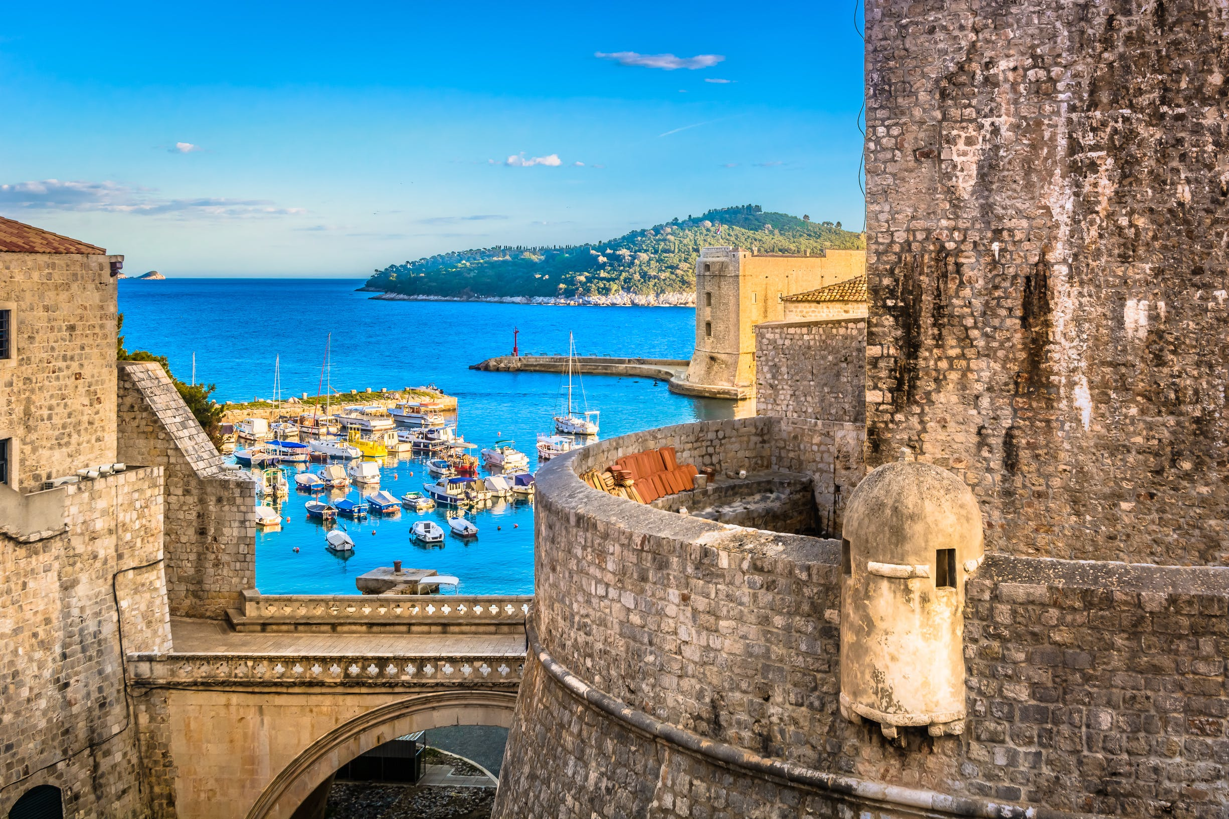 Ancient city walls still protect Old Town in Dubrovnik as they have for centuries.